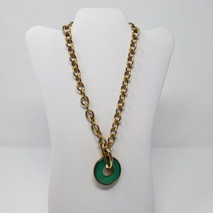 Kenneth Jay Lane Gold Tone Green Toggle Necklace